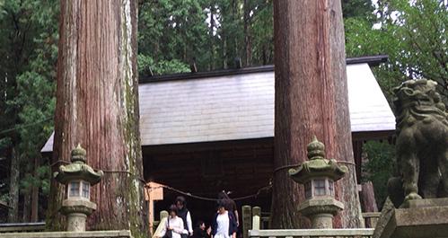 夫婦杉と拝殿